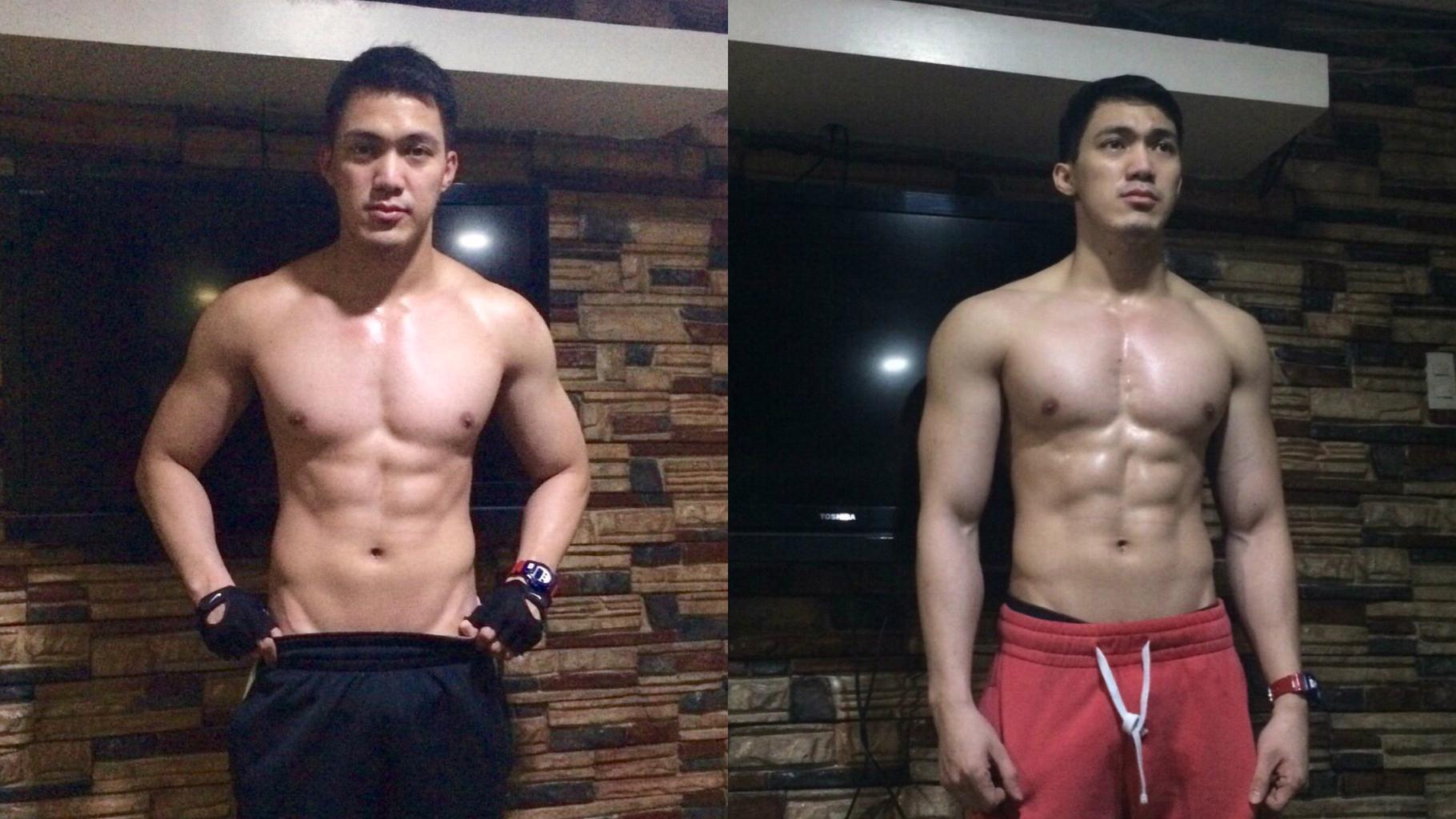 Muscle building photo comparison