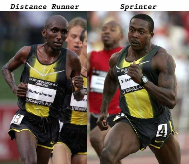 Photos of sprinters and marathoners