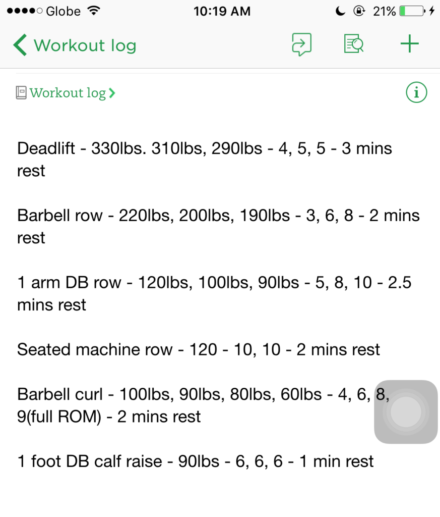 Screenshot of my workout log on Evernote