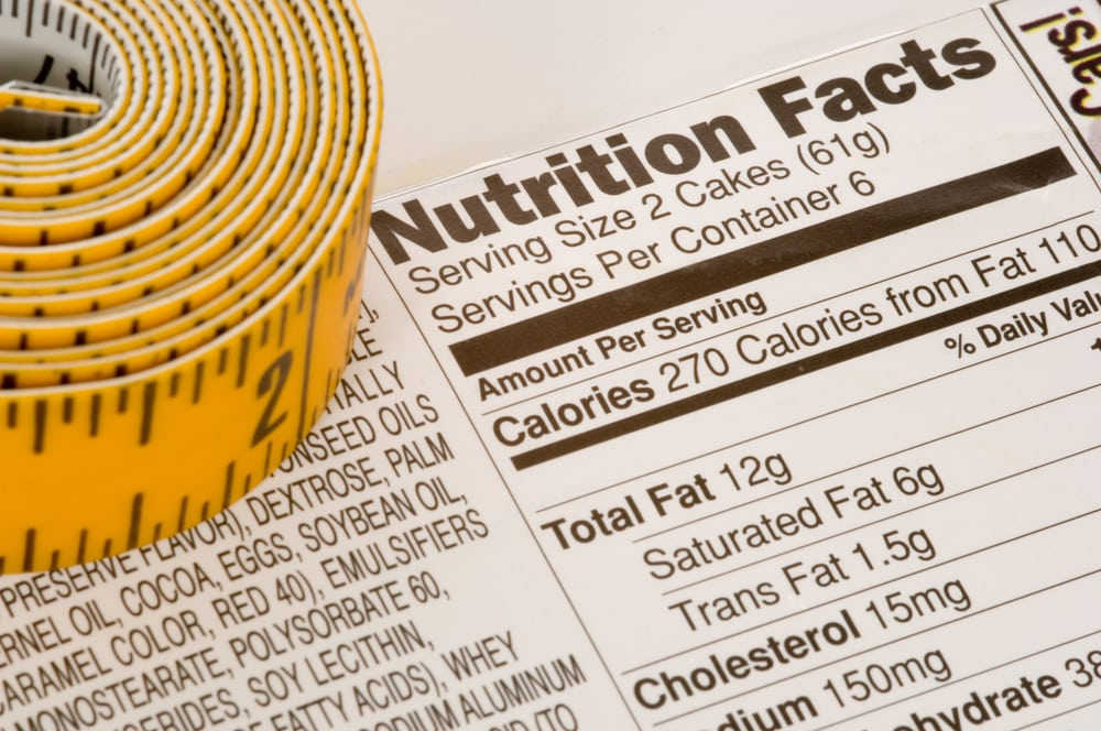 Nutrition facts photo. Counting calories is the most crucial part of dieting