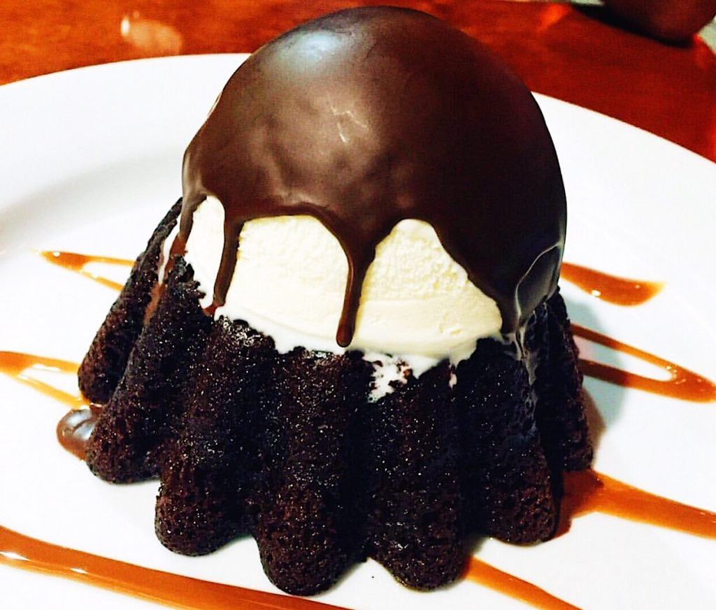 A photo of my favorite molten chocolate lava cake. By following these tips to minimize holiday fat gain, you can have this dessert more often