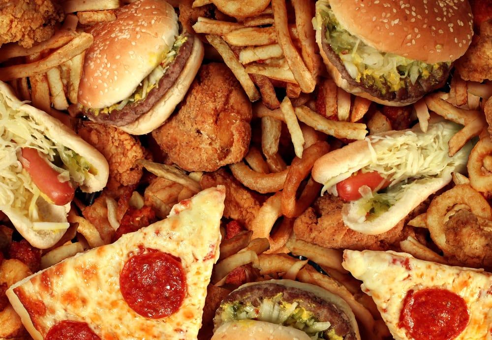 Photo of burgers, pizzas, and fries