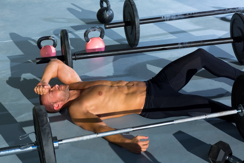 Man lying down during workout
