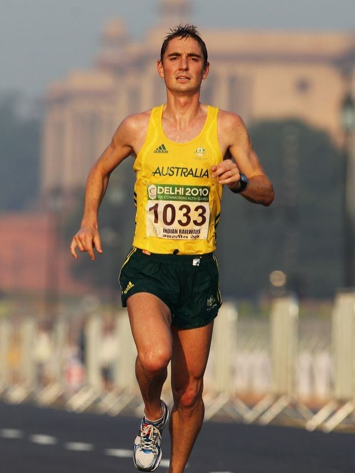 photo of a skinny marathon runner