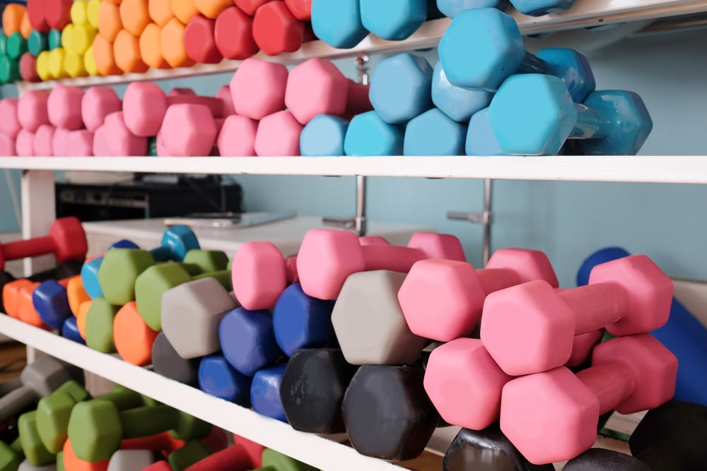 colored dumbbells
